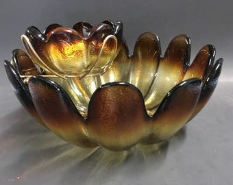 Amber Ombre Flower Shaped Chip Dip Set