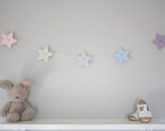 Star bunting, star garland, pastel nursery decor, new baby gift, kids room, wooden bunting, playroom decor, glitter