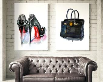 Set of 2 fashion prints. Christian Louboutin shoes, Hermes Birkin Bag. Wall art, fashion set posters, watercolor prints. Free shipping.