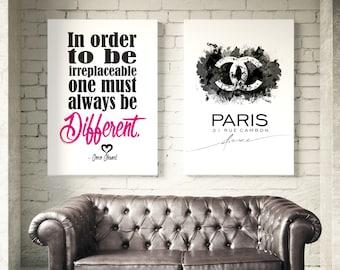 Set of 2 Coco Chanel posters. Coco Chanel logo, Coco Chanel quotes. Chanel Wall art, fashion set prints, Chanel Inspired. Coco Chanel Decor.