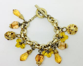 Bracelet signed G Jacke / Paris / chain with dangle yellow