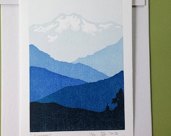 Olympic Mountains, Letterpress print