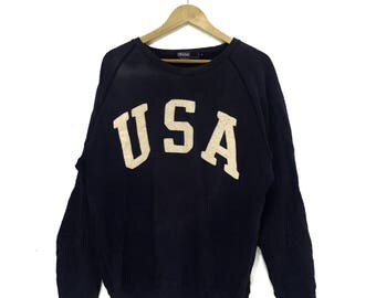 Vintage POLO RALPH Lauren USA Spell Out Logo Large Crew Sweatshirt Jumper Sport Country Stadium Olympic