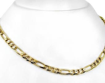 "SALE I Solid 24K Yellow Gold Plated Men's Women's Figaro Curb Link Chain Long Necklace 33"" 6MM 32G"