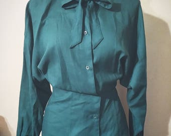 Vintage Teal Blue Vintage Secretary Blouse with Bow / Mondi Made in Germany