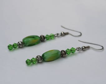 Swirled Glass and Pewter Earrings
