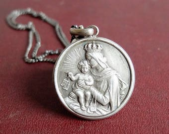Sterling Silver Sacred Heart of Jesus Medal Catholic, virgin mary and child