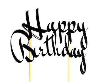 Happy Birthday Cake Topper, Birthday Cake Topper, Black Cake Topper, Cake Topper for Birthday, Simple Cake Topper, Happy Cake Topper, Topper