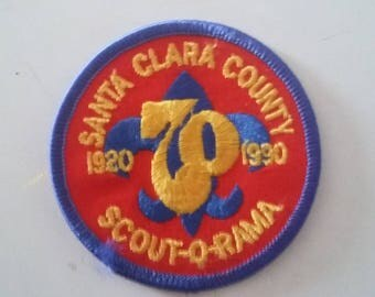 70th Anniversary Scout-O-Rama Santa Clara County 1920 - 1990 Vintage Boy Scout Embroidered Sew On Patch