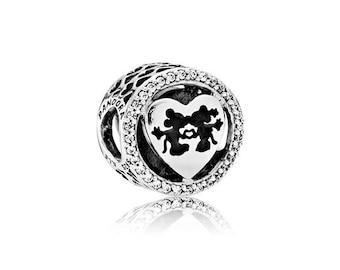 NEW NEW! Authentic Pandora Bead Openwork Mickey & Minnie Love CZ Charm 791957CZ