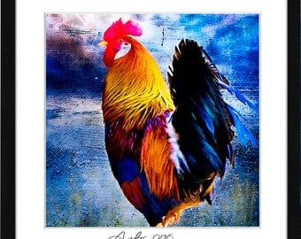 RoosterArtwork, Rooster Art Print, Rooster Painting, Rooster Kitchen Decor, Rooster Printable, Chicken Art, Rooster Printable Poster