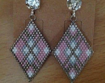 Miyuki 11 cabochons Swarovski hangs silver peyote stitch beaded earrings