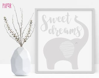 "Printable - Cute Elephant with ""Sweet Dreams"" quote perfect for your nursery."