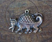 Vintage French Brass Stamping/Antique Style/Tarasque/Six Legged Beast/Mythological Animal/French Findings