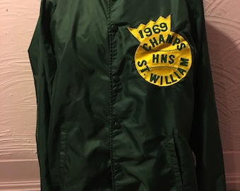 Vintage Brill Bros Timberline Windbreaker Jacket 60s Baseball Patches L