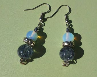 Opal earrings and blue Crackle glass beads