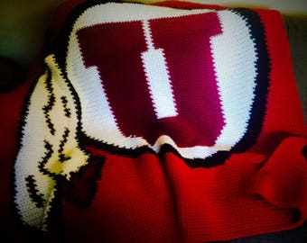 Crochet Pattern: University of Utah Utes Drum and Feather Afghan (PDF Instant Download)