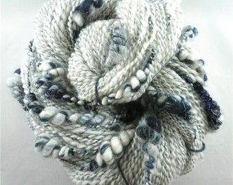 Handspun Art Yarn, Art Yarn,Art Yarn Coils,Coiled Art Yarn,Hand Spun Art Yarn,Blue Art yarn,Handspun Merino yarn,White Art Yarn, Spiral Yarn