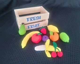Crocheted Fruit in a Crate