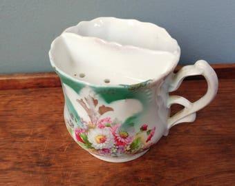 Victorian Shaving Scuttle // Vintage Shaving Mug Porcelain  Mustache Cup