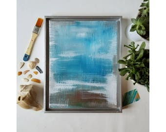 "Original Acrylic Artwork //Nature Inspired Abstract Expressionist Painting //  11×14 // blue, white, tan // ""Beach Brush. 2"""