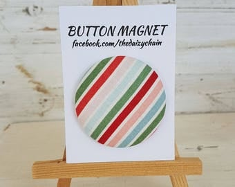 Large Fabric Button Magnet - Multi Stripe Design - Fridge Magnets - Office Magnets