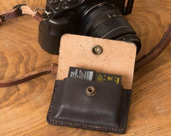 Genuine Leather Dual Camera Fujifilm Battery Holder (Pouch)