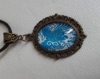 Collier mid-long blue flower