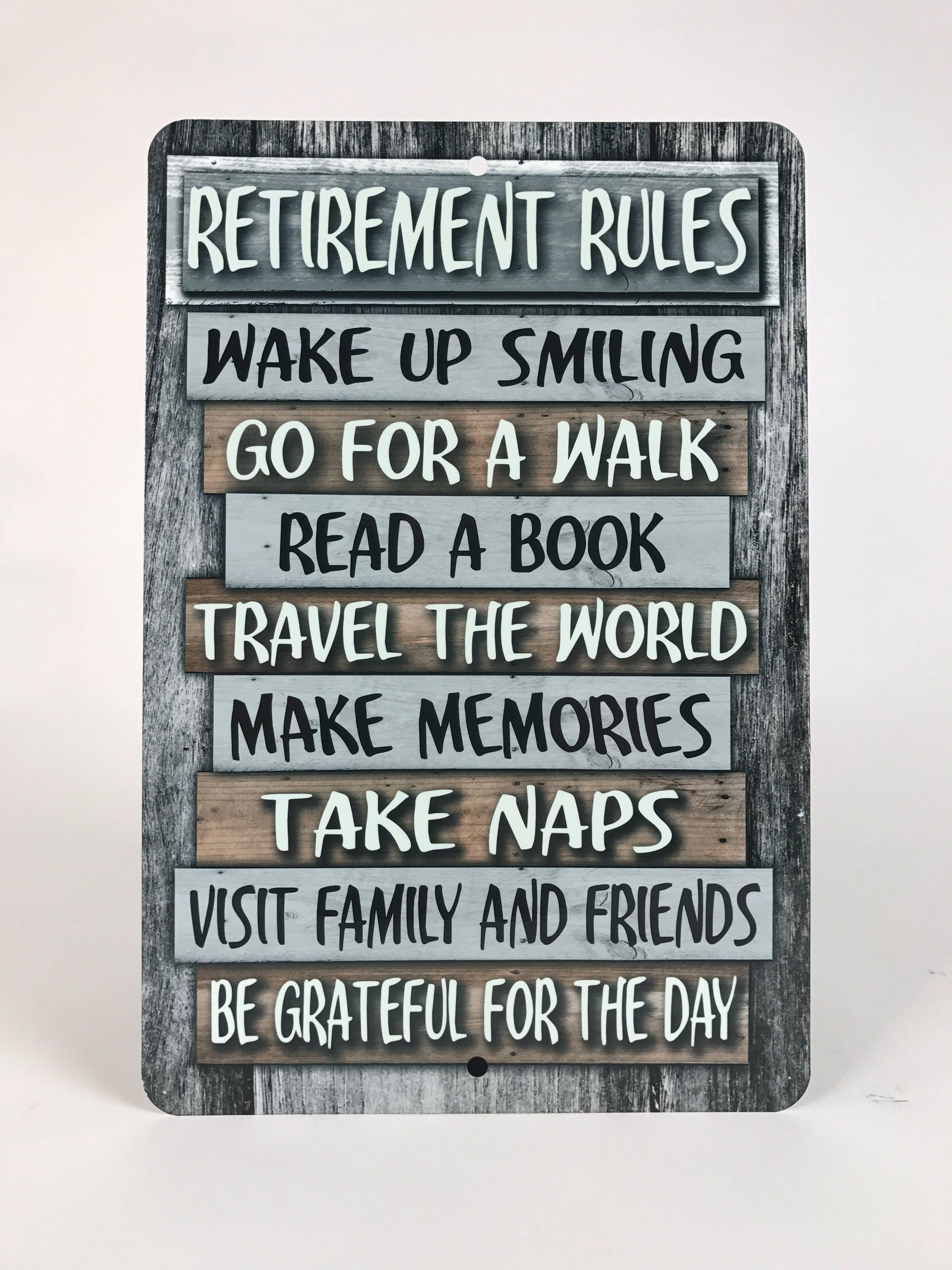 Retirement Rules Metal Sign Home Decor Retirement Gift