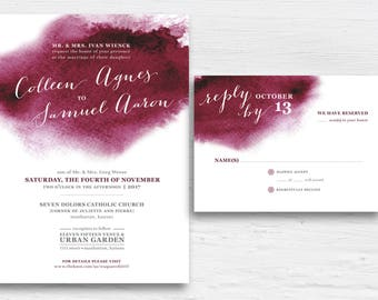Burgundy Watercolor Wedding Invitation Set Printable Maroon Watercolor Invite