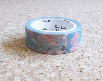 Japanese birds cherry blossom washi tape Beautiful blue and pink masking adhesive paper for scrapbooking Cute stationery