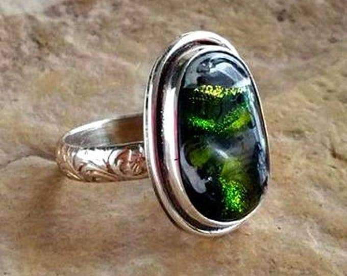 Forest Memorial Ring, Ashes in Glass, cremation ring, pet ashes ring