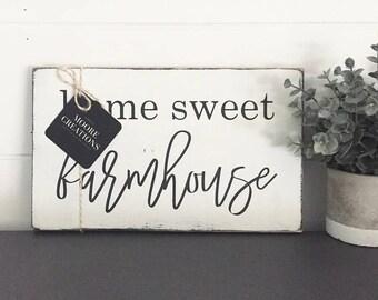 WOOD SIGN   Home Sweet FARMHOUSE   Modern Farmhouse Sign   Hand painted   Wall Art   Home Decor