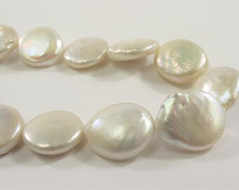 12-13 mm Half Strand High Luster Natural White Flat Coin Cultured Freshwater Pearl Beads,Natural White Genuine Freshwater Pearls(637-CW1213)