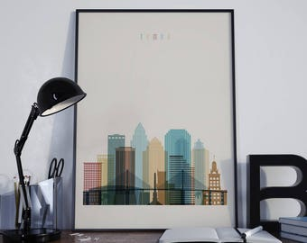 Tampa Art Tampa Watercolor Tampa Multicolor Tampa Wall Art Tampa Wall Decor Tampa Home Decor Tampa Skyline Tampa Print Tampa Poster Florida