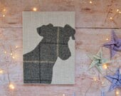 Jack Russel Notebook | Terrier notebook with tweed Jack Russel silhouette detail | Jack Russel Journal | Jack Russel Gift | Terrier Gift