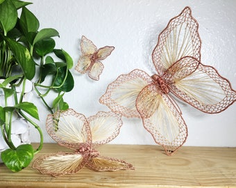 Straw Butterflies, String Art, Set of 3