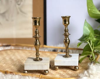 Brass and Marble Candlestick Holders, Vinatge, Set of 2