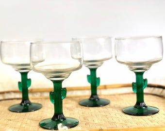 Vintage Cactus Glasses, Libbey Stemware, Set of 4