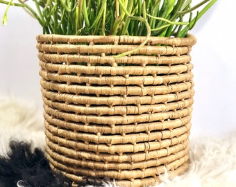 Large Coiled Woven Basket Planter