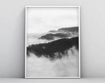 Black and White Landscape Printable, Fog Forest Print, Misty Landscape Photography, Printable Forest Prints, Black White Home Decor Wall Art