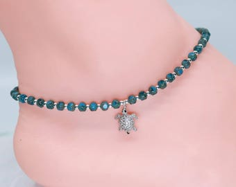 Silver turtle anklet, blue, gift for her, Easter gift