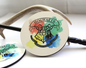 Harry Potter Hogwarts crest watercolor set of two round Coasters with cork back.