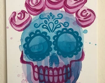 Abstract Cotton Candy Sugar Skull