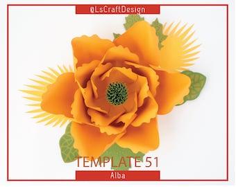 PDF Paper Flower, Giant Paper Flower Template,  Shower Decor, Big Paper Flower, Wedding Decor, Base /Instruction Including