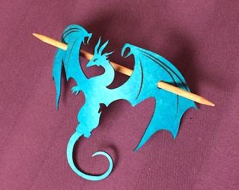 Blue Dragon Leather Hair Barrette