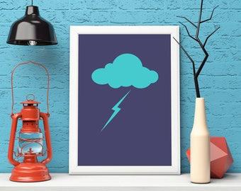 Minimalist Print, Printable Art, Minimalist Poster, Cloud Art, Home Decor, Wall Art Prints, Cloud Print, Minimalist Art, Instant Download