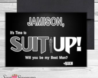 Suit Up best man, groomsman, ring bearer proposal card