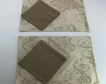 Set 2 place mats Shabby chic placemat with napkin