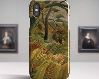 "Henri Rousseau, ""Tiger in a Tropical Storm"". iPhone X Case Art iPhone 8 Case iPhone 7 Plus Case and more. iPhone X TOUGH cases."